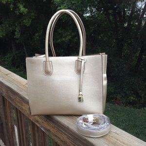 NWT Charming Charlie Gold Satchel/Crossbody Bag